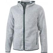 Куртка чоловіча з в'язаного флісу James&Nicholson, світло- сірий/темно-сірий, 3XL